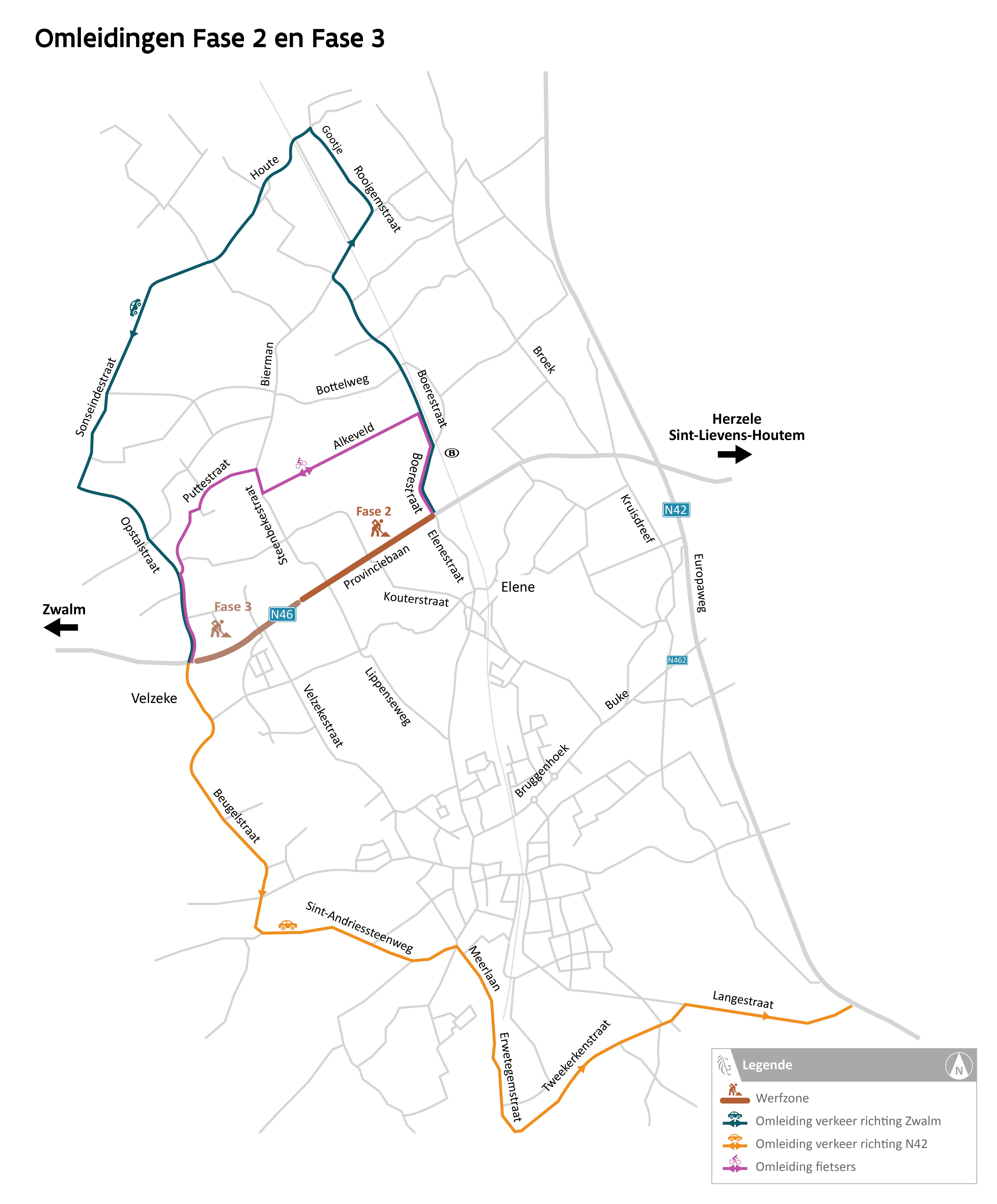 Omleidingskaart Provinciebaan - Fase 2 en 3